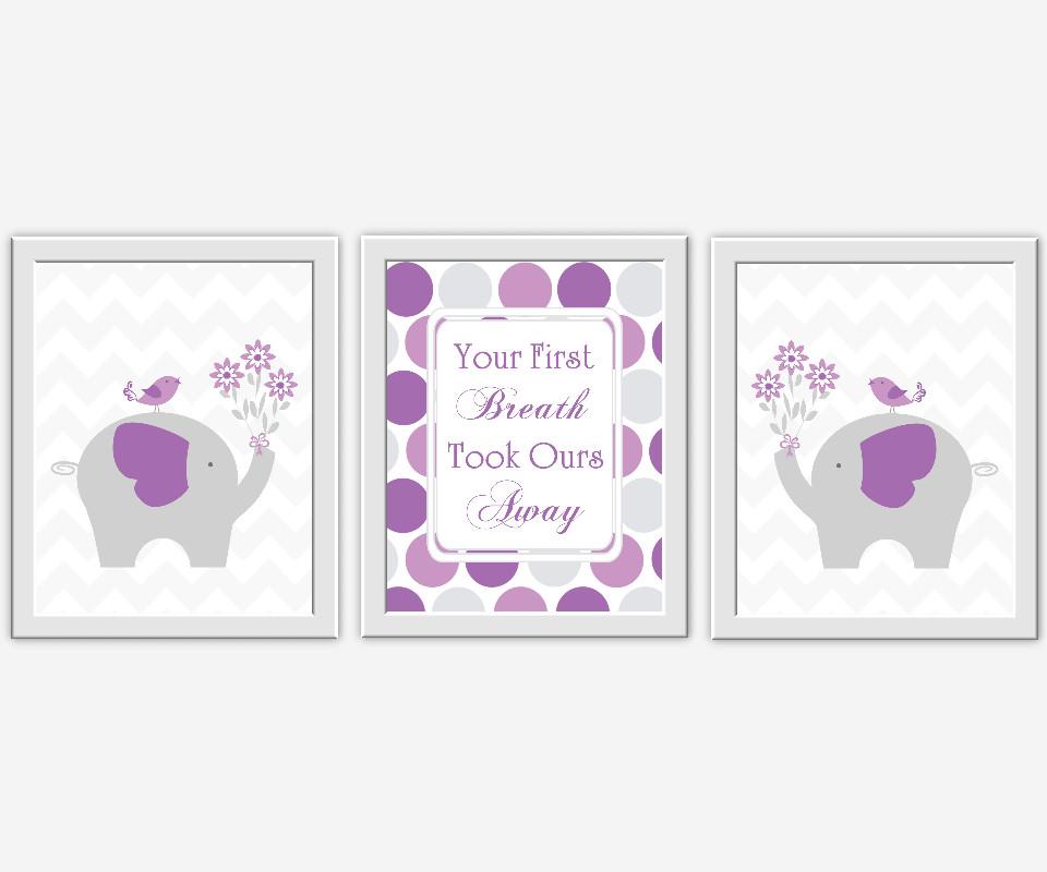 Curtains For Baby Girl Nursery: PURPLE Baby Nursery Wall Art Lavender Gray Elephants