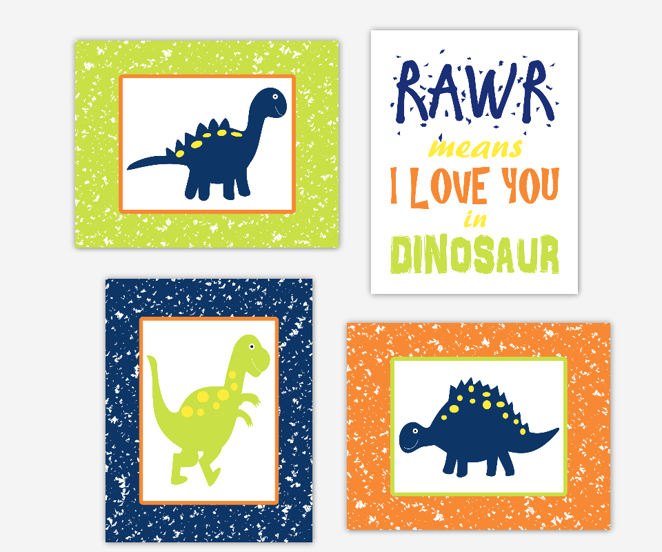 Baby Boy Nursery Wall Art Dinosaurs Navy Blue Green Orange