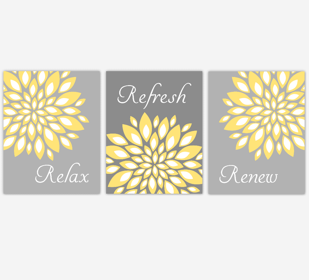 Floral Bathroom Wall Art Yellow Gray Flower Burst Dahlia Mums Spa Bath Rules Home Decor Set Of 3 Unframed Prints Dezignerheart Designs C Personalized Baby Nursery Decor Gifts