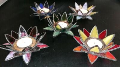 Bougeoir lotus verre et bois