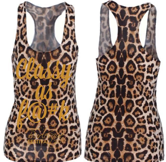 """NZBF17 Leopard print """"Classy as F@#K"""" singlet 1217"""
