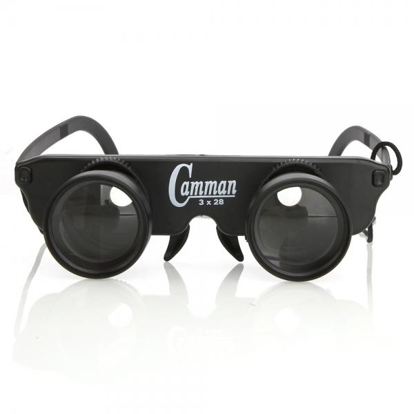 3x28mm Binocular Fishing Glasses Style Transparent Lens 60m/1000m View Black BC89005712TM