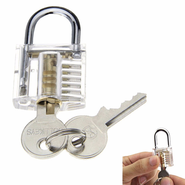 Transparent Practice Padlocks with 12pcs Unlocking Lock Pick Set Key Extractor Tool Lock Pick Tools Silver