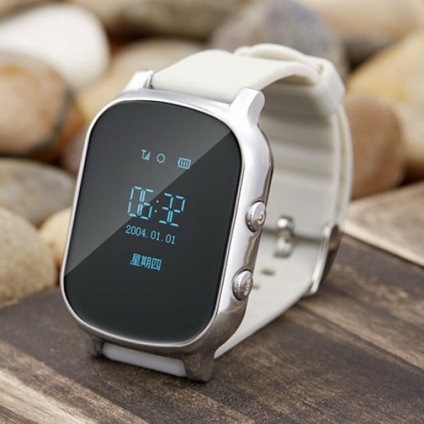 Kid Safety GPS Tracker Smart Locating Watch Silver BC82029472TM