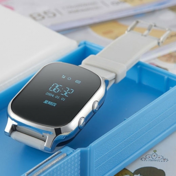 Kid Safety GPS Tracker Smart Locating Watch Silver