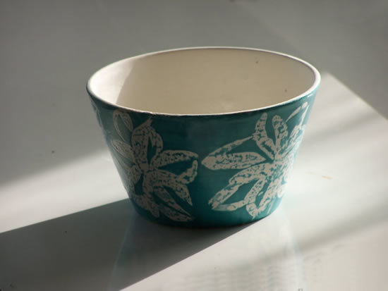 Stoneware Chowder Bowl, small, in White Flower on Turquoise