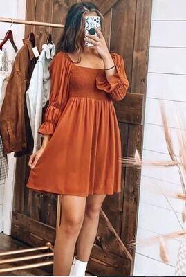 Rust Square Neck LS Dress