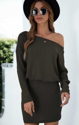 Olive Ribbed LS Mini Dress