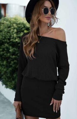 Black Ribbed LS Mini Dress
