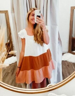 Tiered Flutter Sleeve Dress