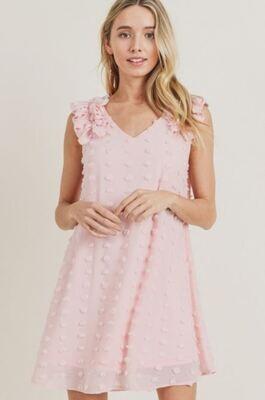 Peach Swiss Dotted Dress
