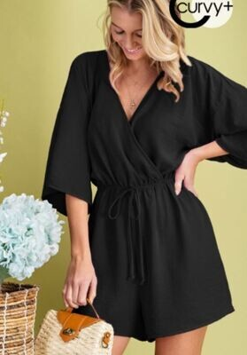 Black Kimono Sleeve Romper