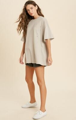 Distressed Oversized Ivory Top