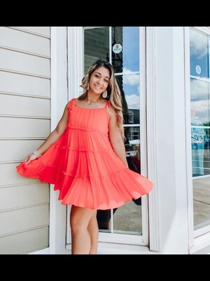 Red Ruffle Casual Mini Dress