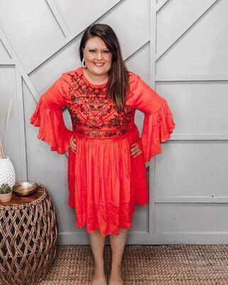 Strawberry Floral Ruffle Dress