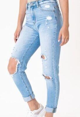 KANCAN light ripped mom jeans