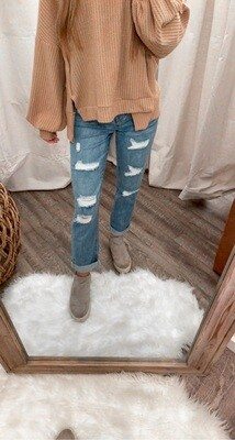 Parisian Mid Blue Multi Rip Boyfriend Jeans