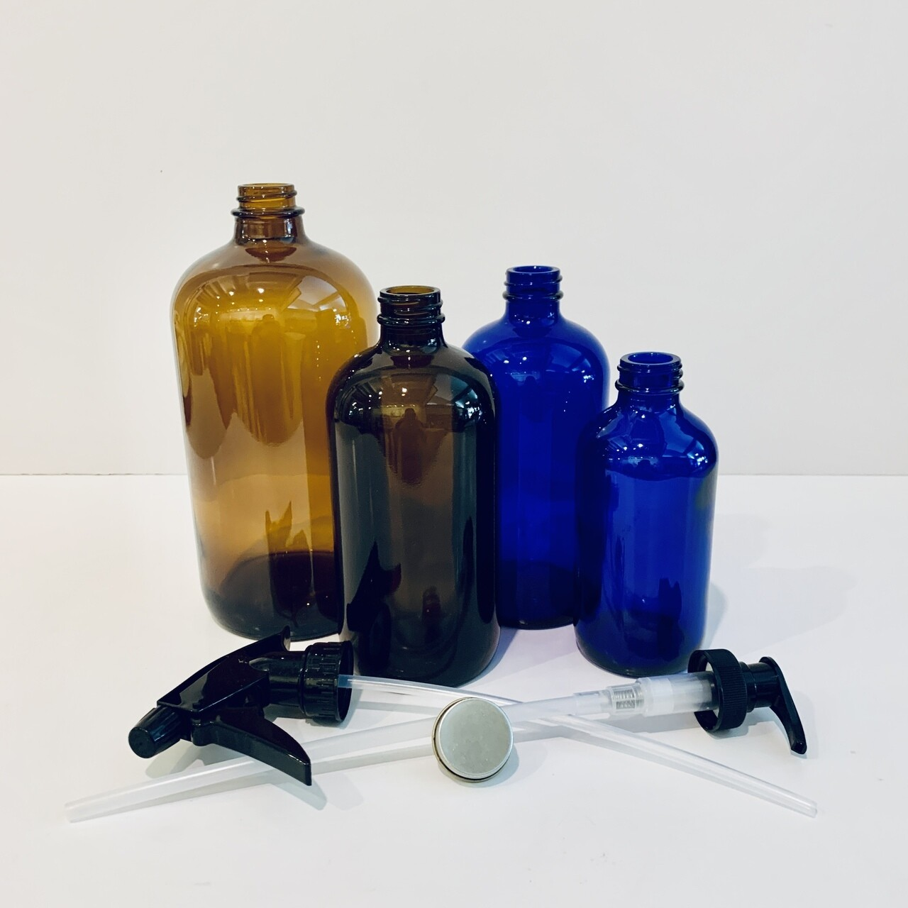 Glass Bottles and Lids, Boston Round