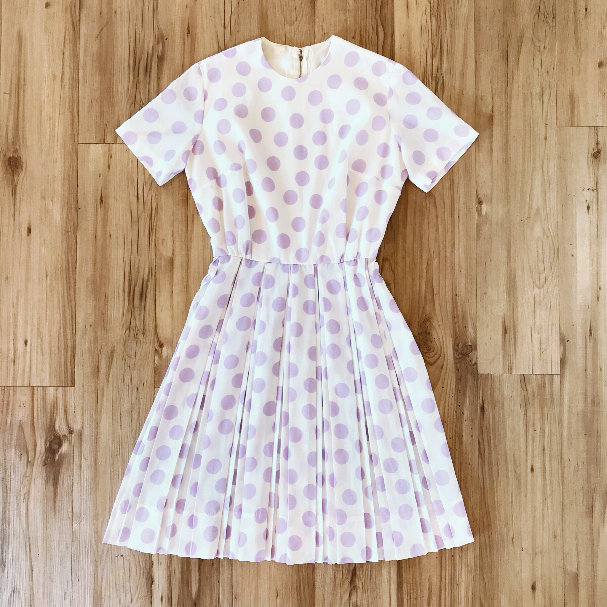 1950s Pretty Pastel Purple Polka Dot Dress