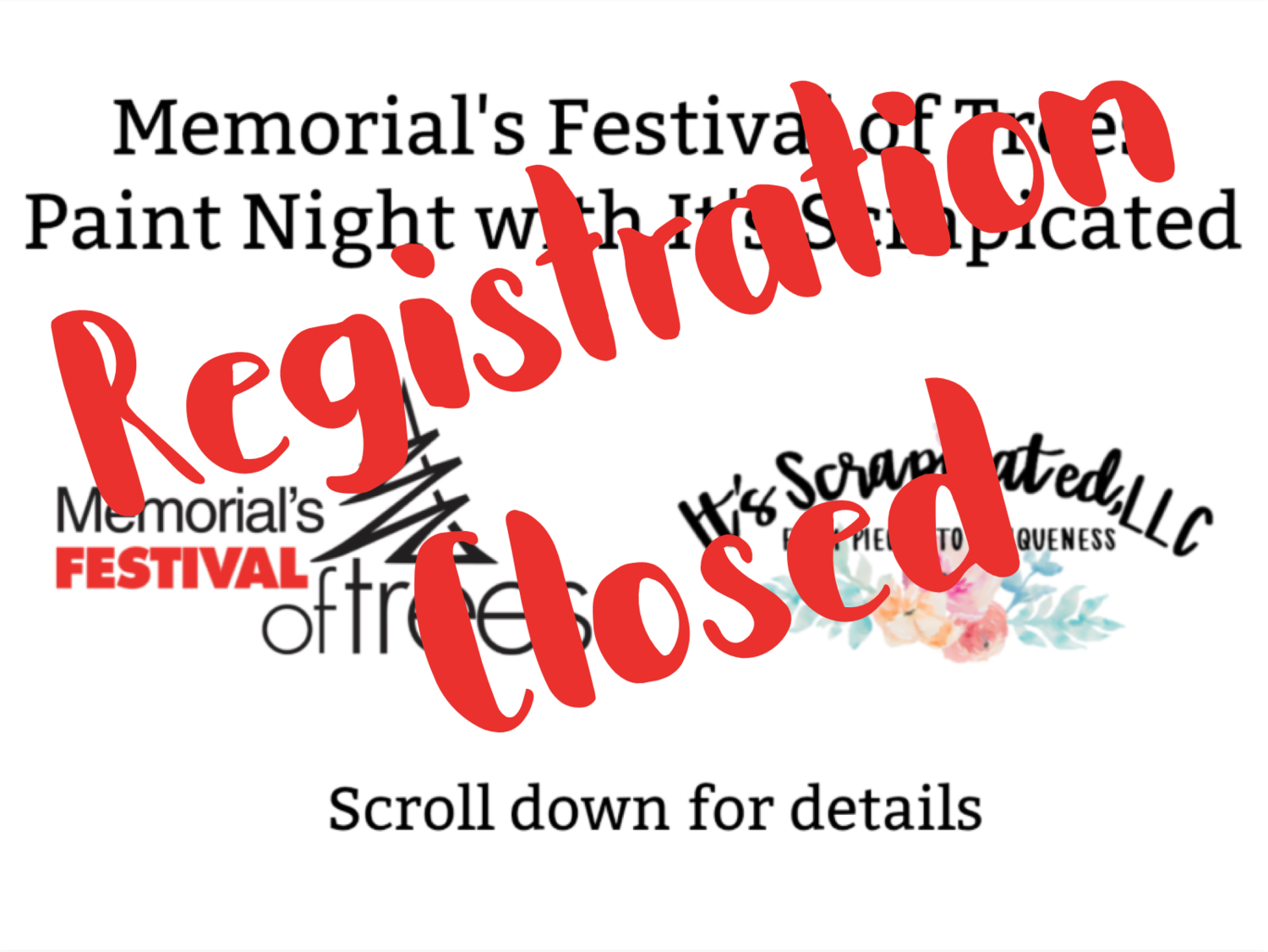 Memorial's Festival of Trees Paint Night with It's Scrapicated - Tuesday, Nov. 13, 2018 (4:30 p.m. - 8:30 p.m)