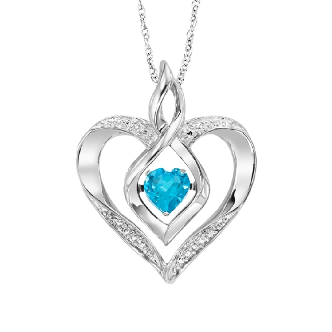 Rhythm of Love Birthstone Heart Pendant - Choice of 12 Birthstones ...