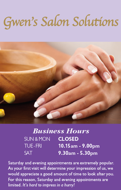 Gwen's Salon Solutions - Opening Times