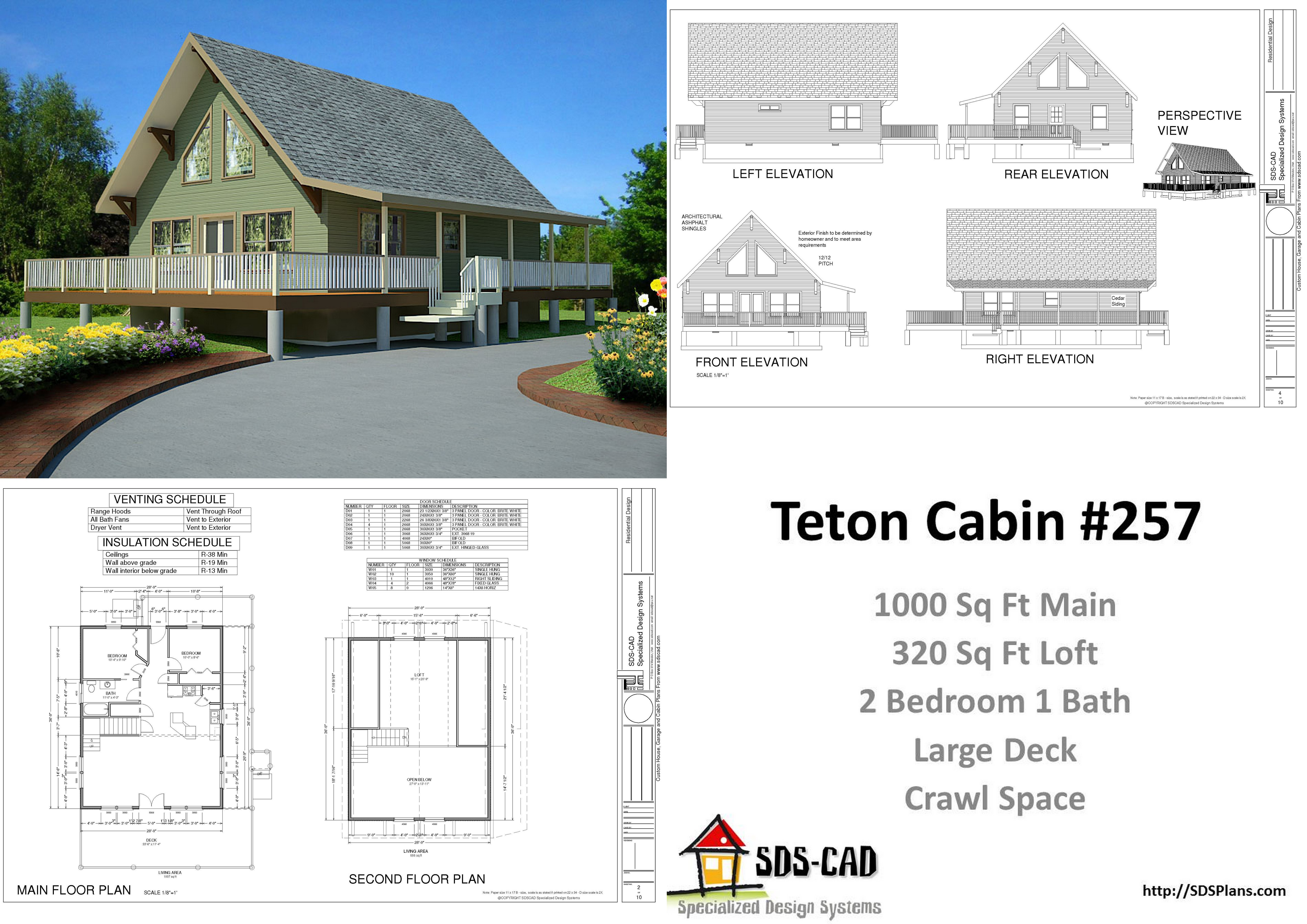 H257 1000 sq ft custom cabin design with crawl space pdf for Crawl space house plans