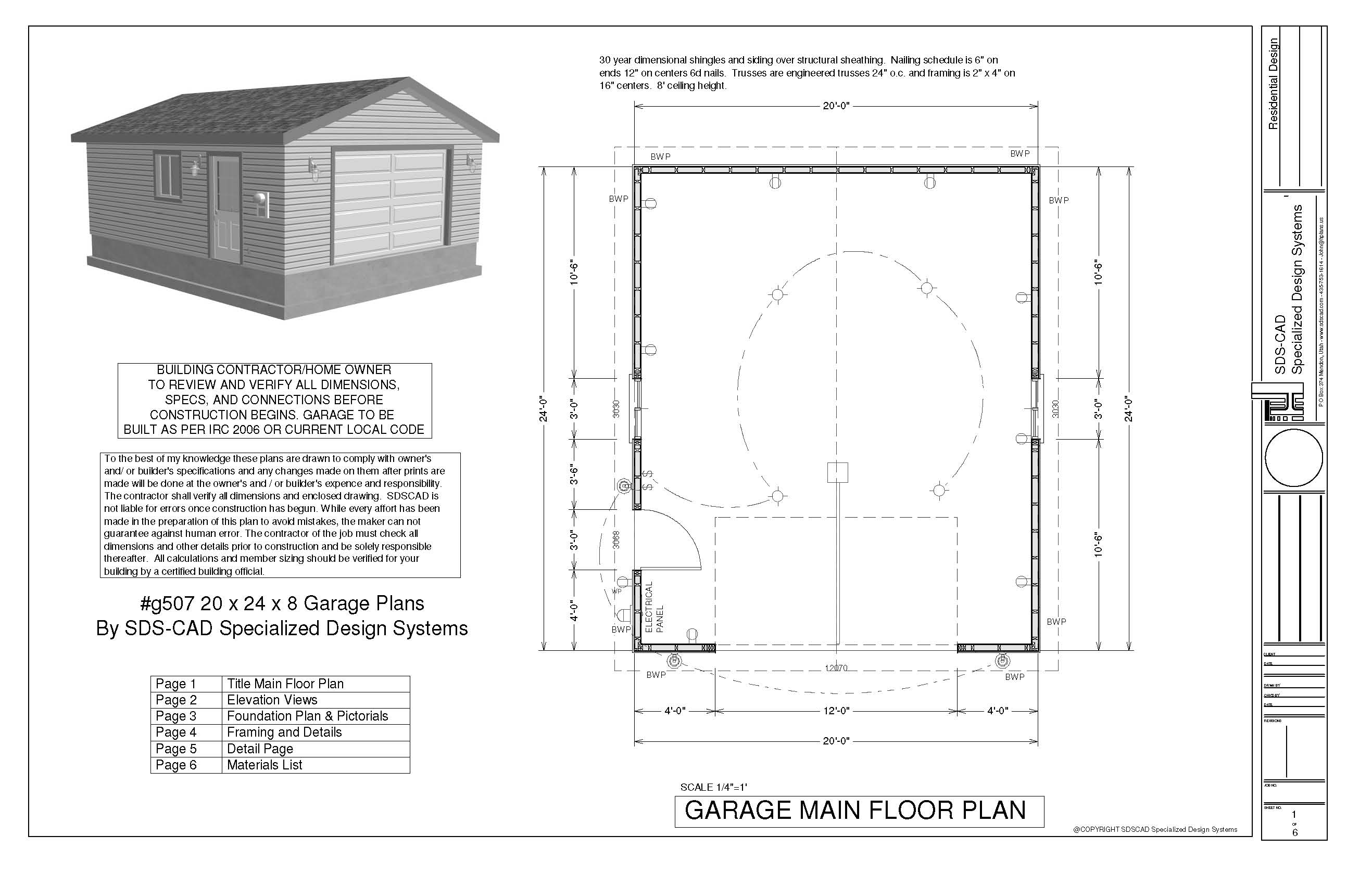 G507 20 x 24 x 8 garage plans 20 x 24 garage plans for 20 x 24 garage plans with loft