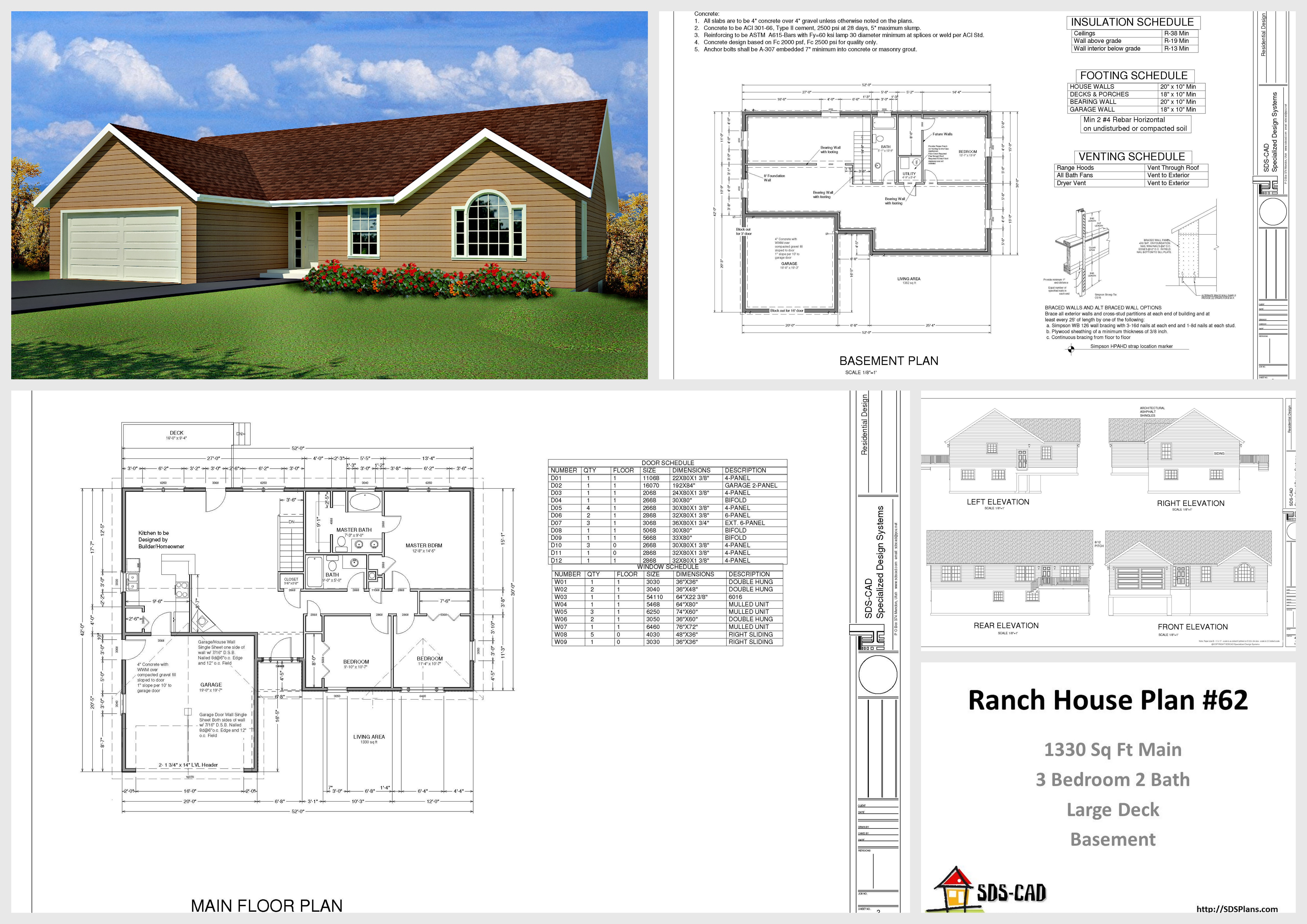 House and cabin plans plan 62 1330 sq ft custom home Autocad house drawings