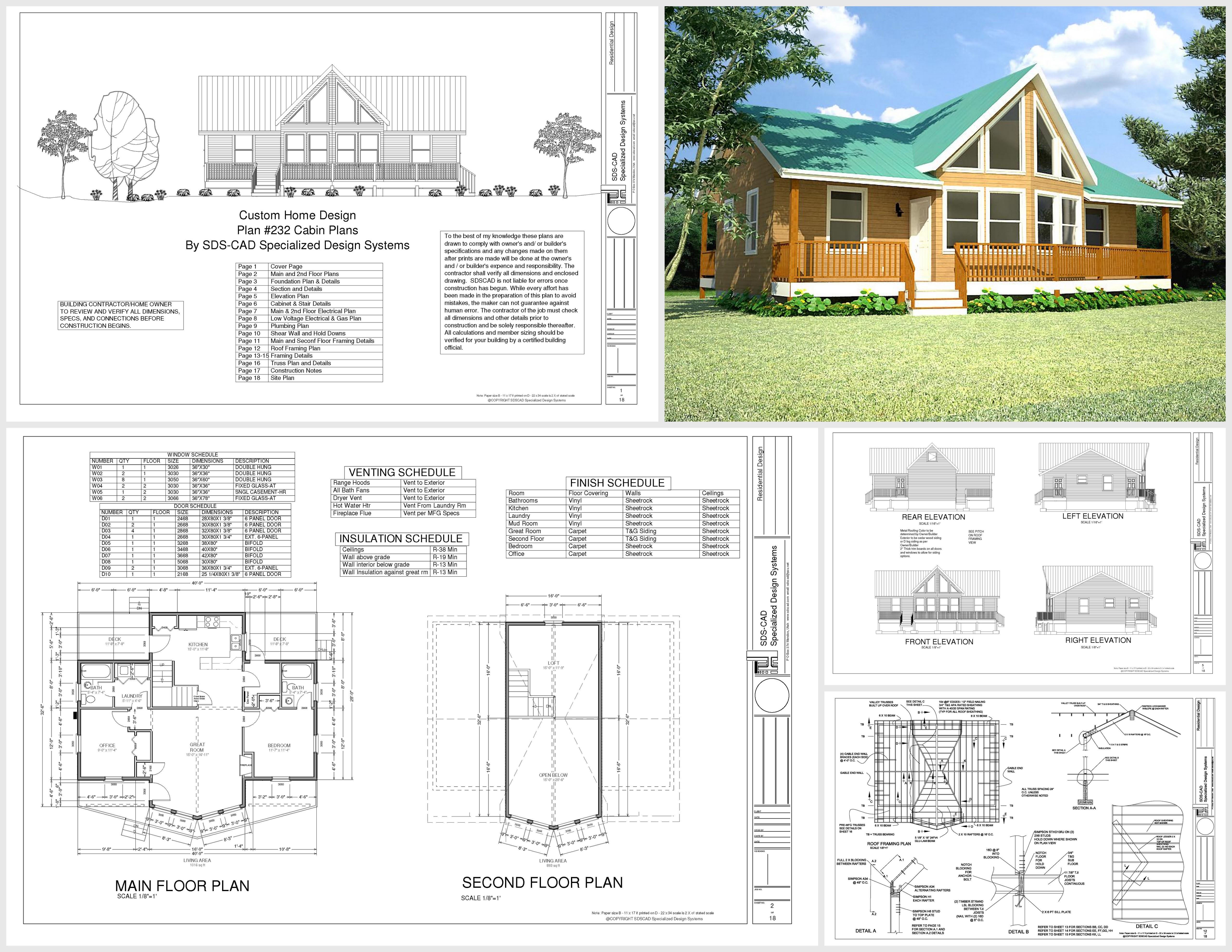 H232 alaskan cabin plan in dwg and pdf cabin plans for Alaska cabin plans