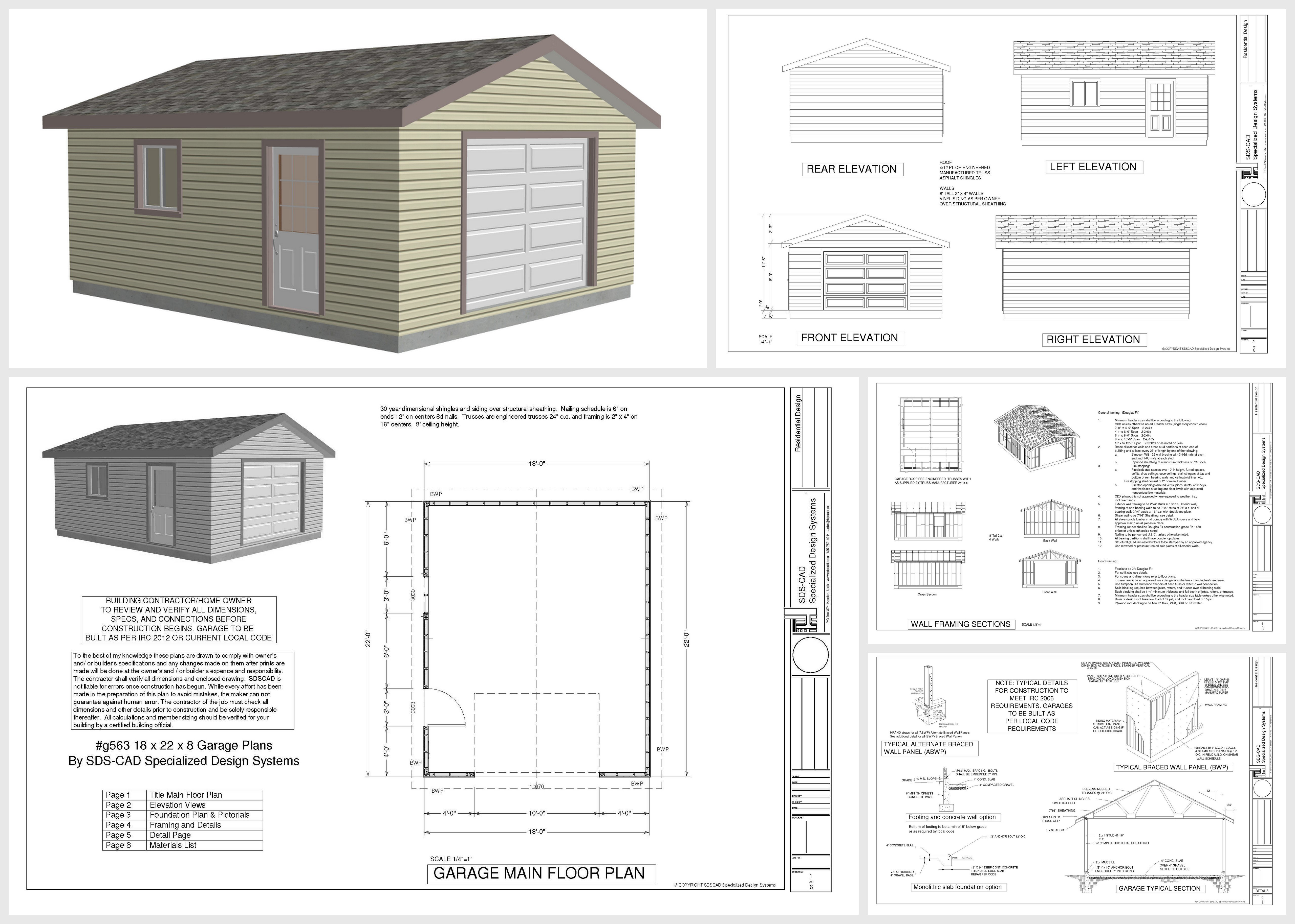 G563 18 x 22 x 8 garage plans in pdf and dwg sds plans for Garage plans free download