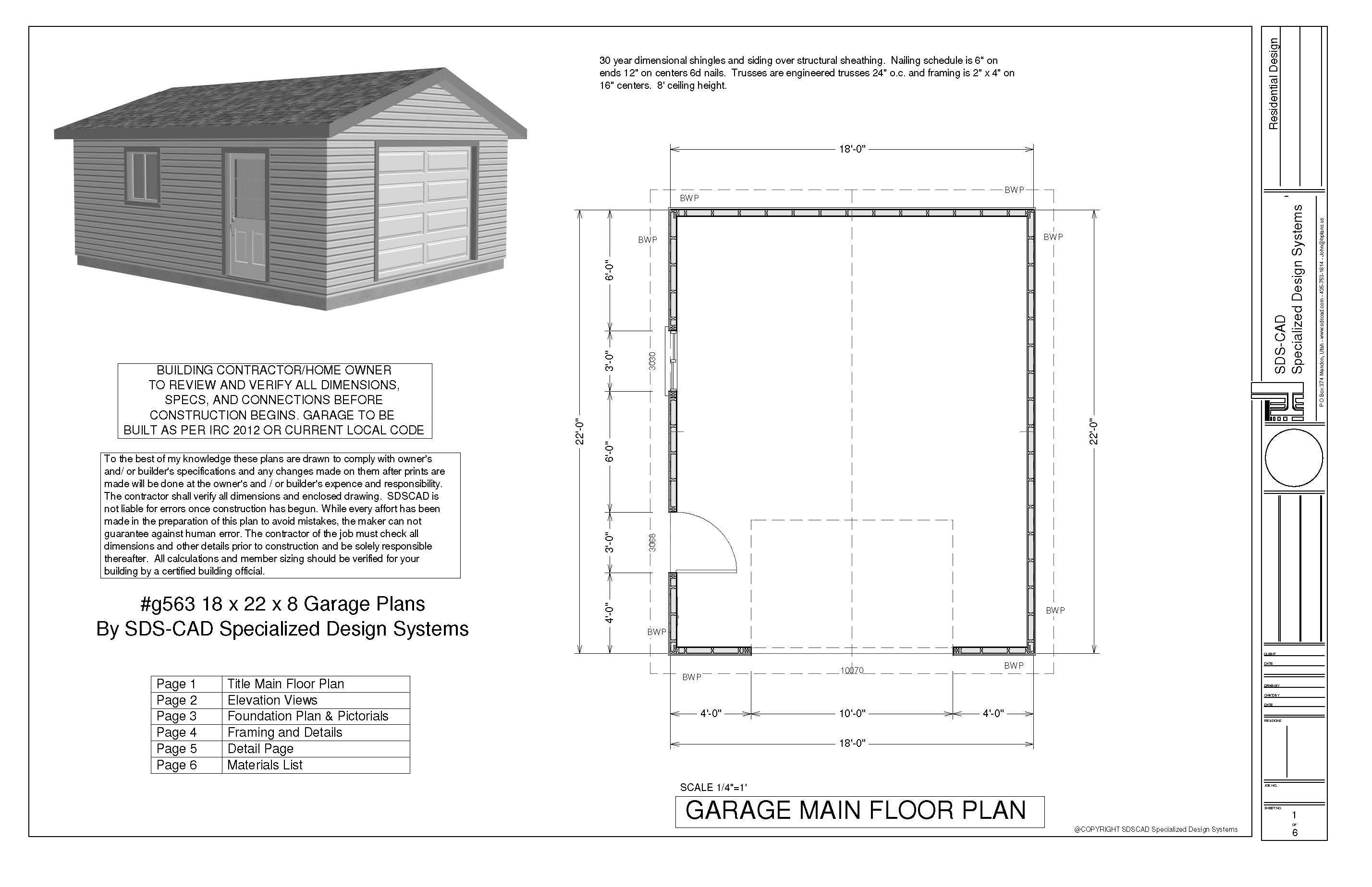 G563 18 x 22 x 8 garage plans in pdf and dwg sds plans Free garage blueprints