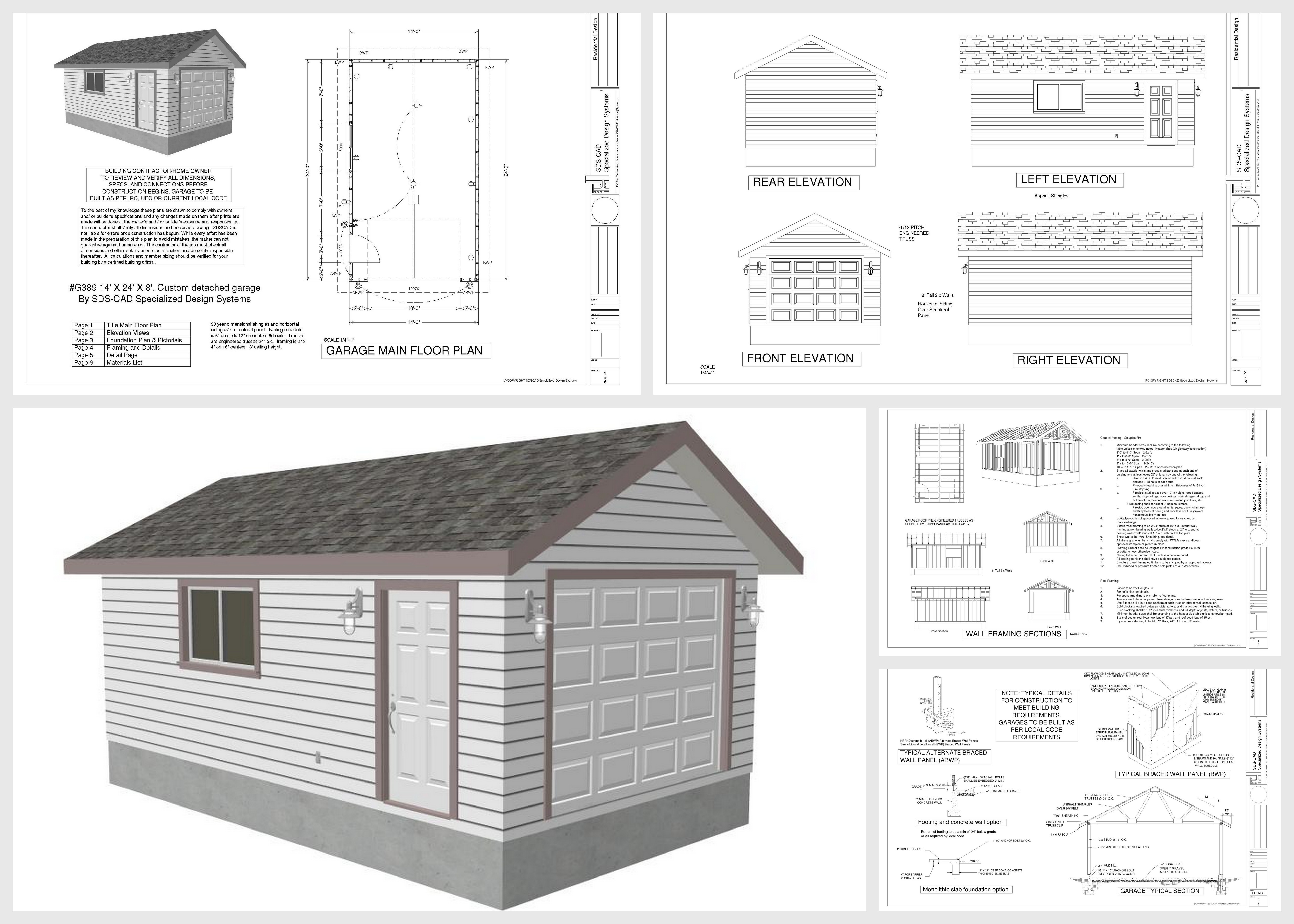 14 x 24 x 8 garage plans with pdf and dwg rv garage plans for Garage plans free download