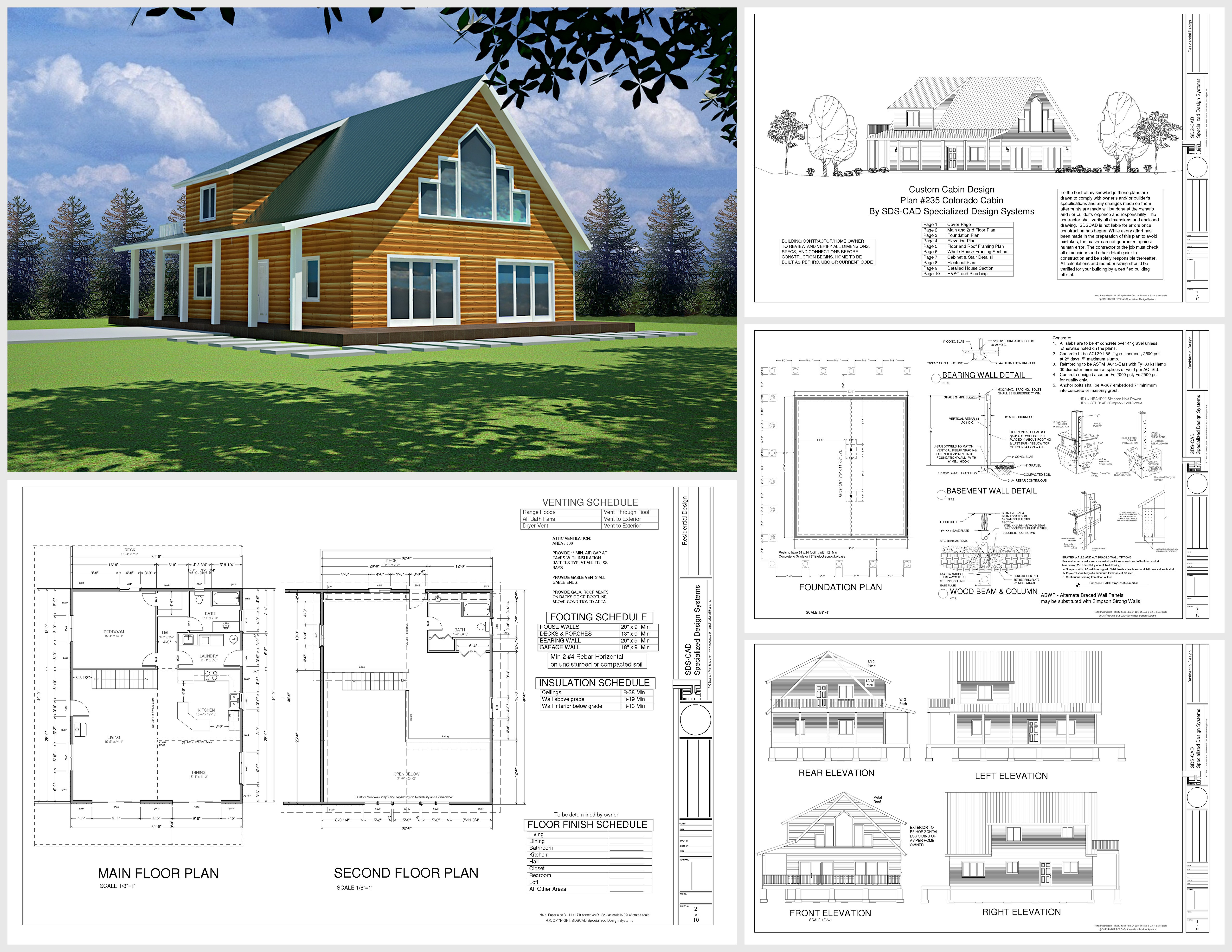 H235 colorado cabin plans in pdf and dwg cabin plans - House to home designs coupon code ...