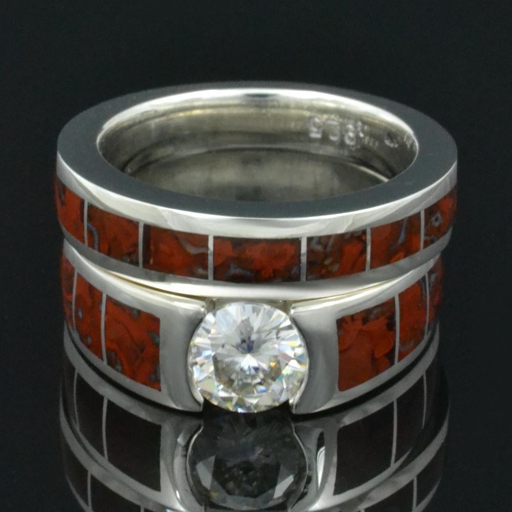 Moissanite And Dinosaur Bone Engagement Ring And Matching Wedding Ring  Bridal Set
