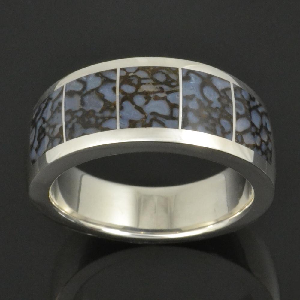 mens dinosaur bone ring in sterling silver - Dinosaur Bone Wedding Ring