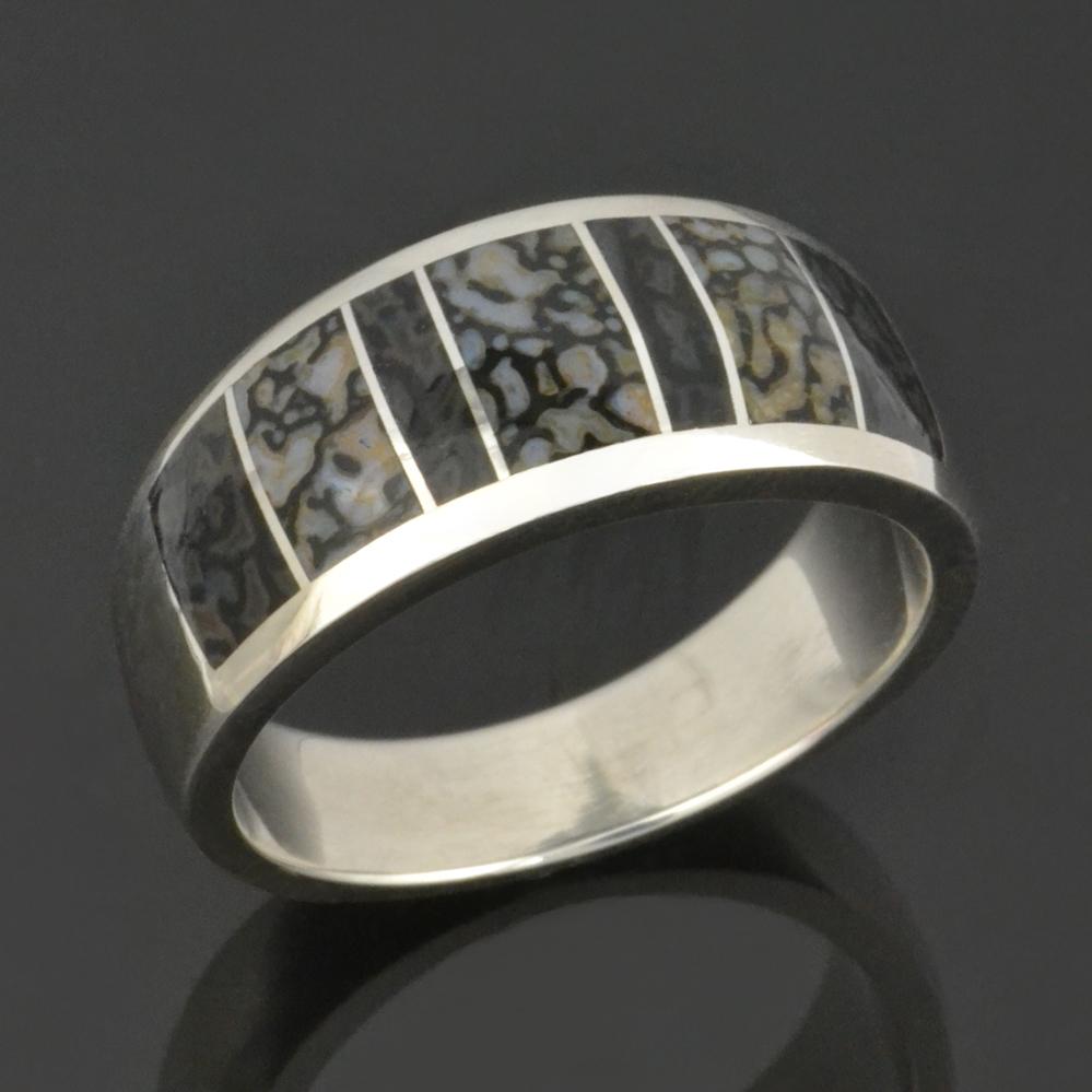dinosaur bone wedding ring in sterling silver by hileman silver jewelry 395 - Dinosaur Bone Wedding Ring