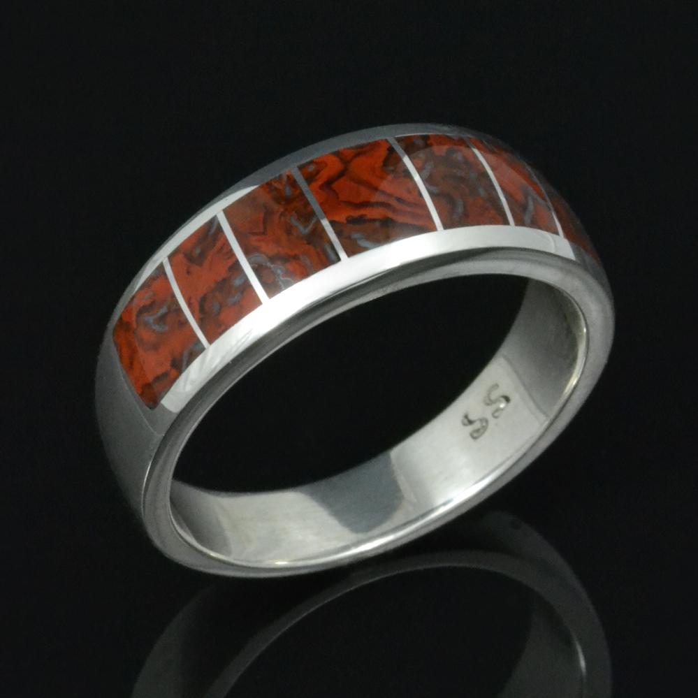 red dinosaur bone wedding ring in sterling silver by hileman silver jewelry 365 - Dinosaur Bone Wedding Ring