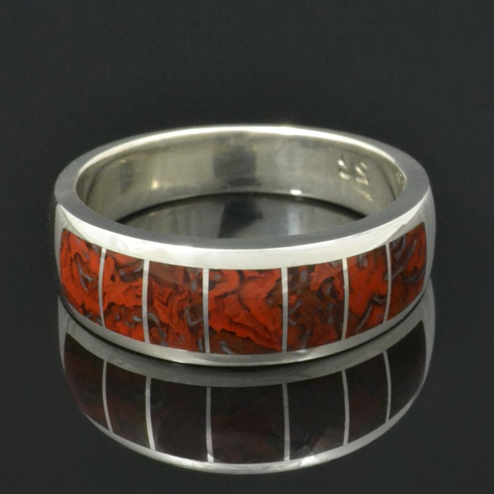 Dinosaur Bone Wedding Ring In Sterling Silver