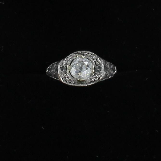 PLATINUM GIA CERTIFED .86 CT OLD EUROPEAN CUT DIAMOND RING, CIRCA 1920