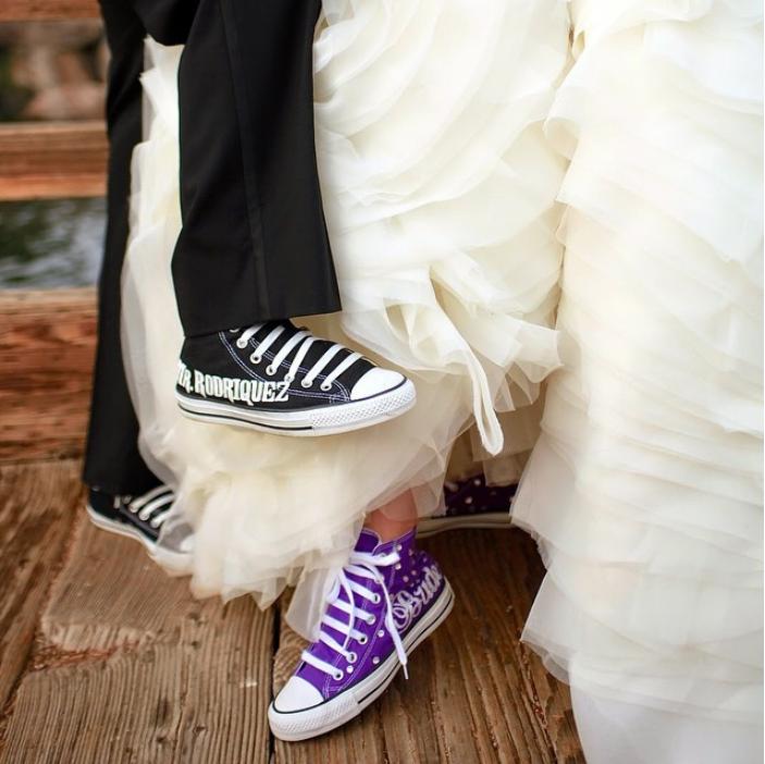 e031d22e204 Custom Bride + Groom Wedding Converse