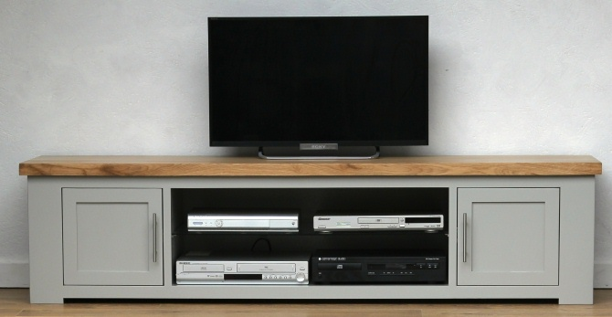 Oak Wide Grey Painted TV Cabinet 1.85M Free Delivery
