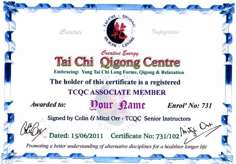 Tai Chi Qigong Centre Associate Membership: