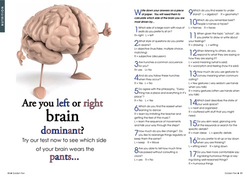 Issue 3 - Golden Pen Magazine - Are You Right or Left Brain Dominant? 00026
