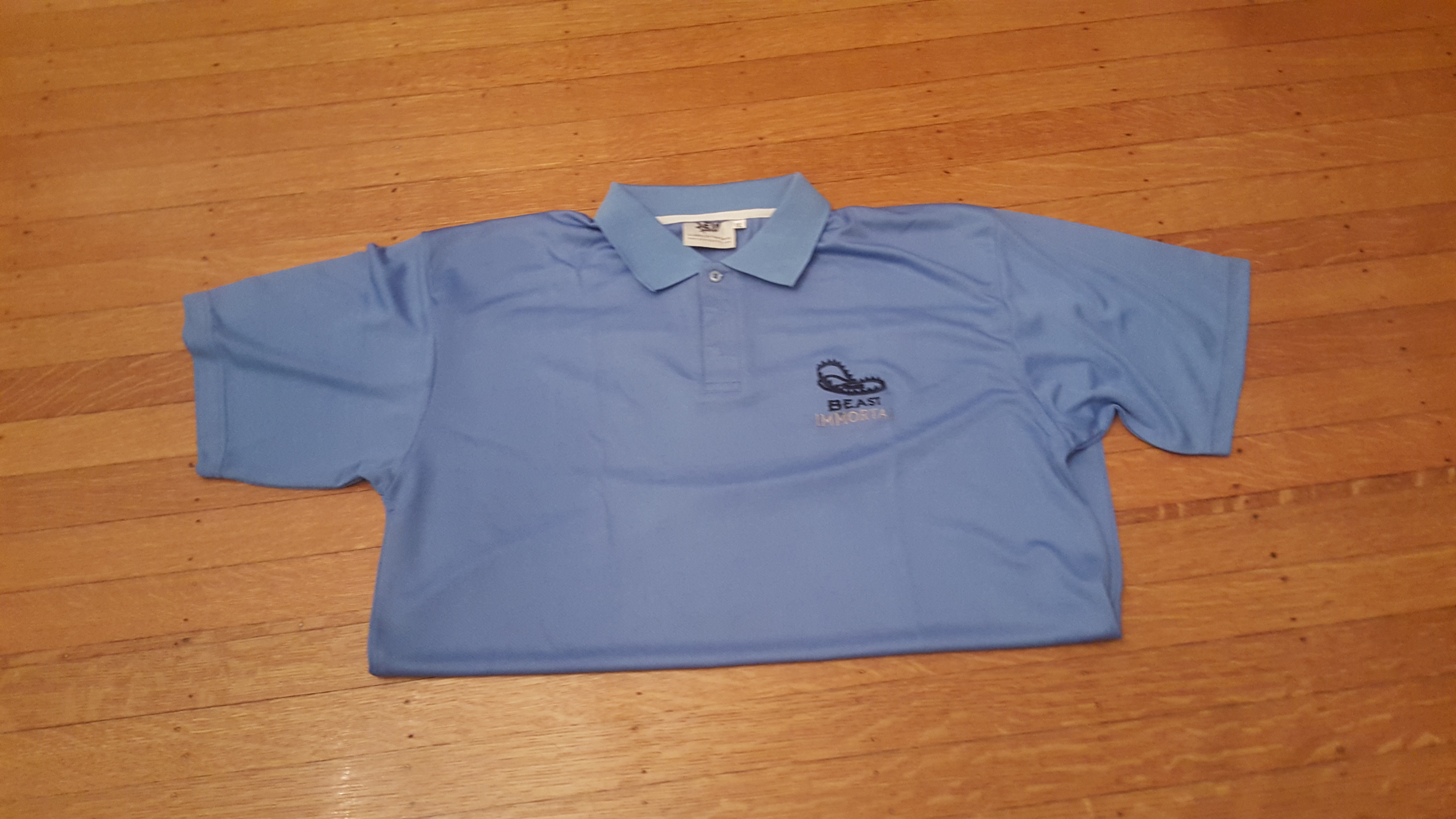 Beast Immortal dri-fit light blue polo shirt 00026