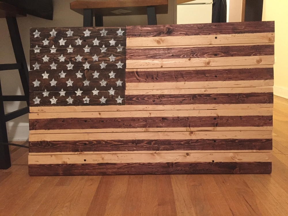 Wooden American Flag Wall Decor W/ 3 Colors Of Stain 40u0027u0027 ...