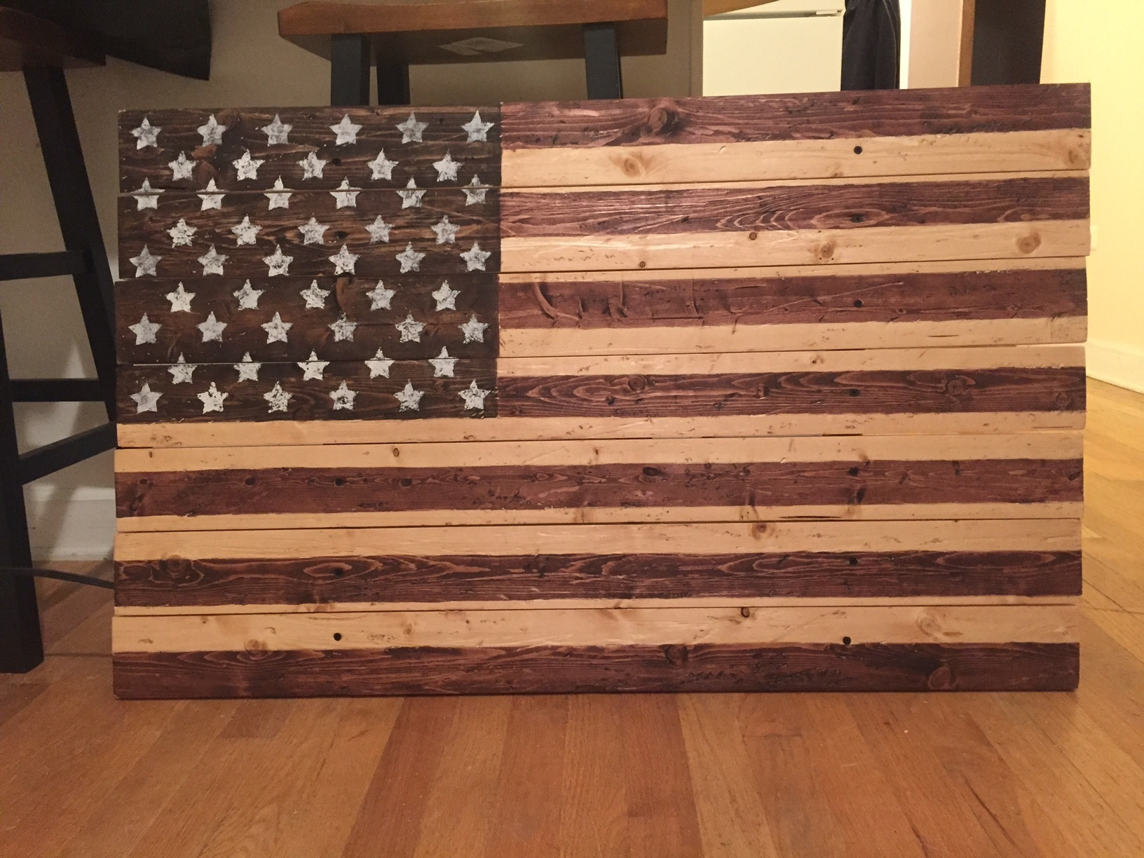 00003 Wooden American Flag Wall Decor w/ 3 colors of stain 40u0027u0027 x