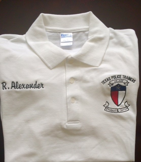 Texas police trainers custom embroidered polo shirt size for Embroidered police polo shirts