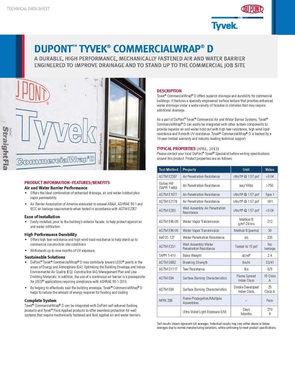 K27288 Dupont Tyvek Commercialwrap D Technical Data Sheet