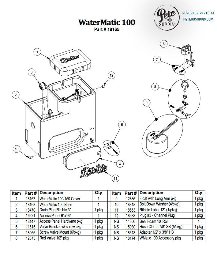 WaterMatic 100 Parts List